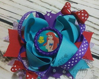 SALE Ariel The Little Mermaid Disney Princess Stacked Boutique Hair Bow 4.5 inch
