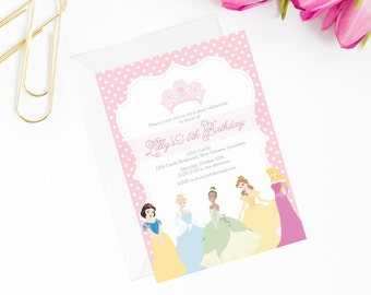 princess invitation, birthday invite, princess party, princess invite, princess birthday, birthday invitation