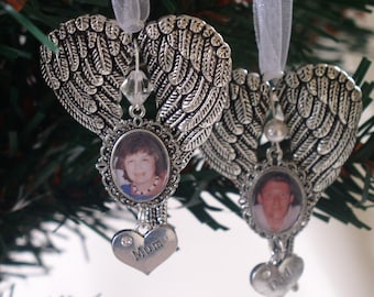 Memorial Angel Wing Hanging  Christmas Tree Ornament with Swarovski Crystal