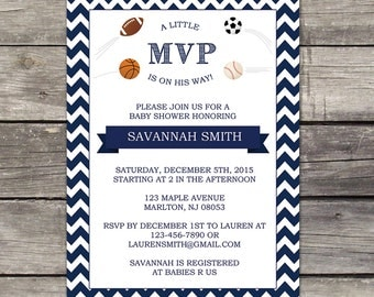 YOU PRINT Sports Baby Shower Invitation 5x7 Digital File - Little MVP - Sports Themed Baby Shower Invitation 225