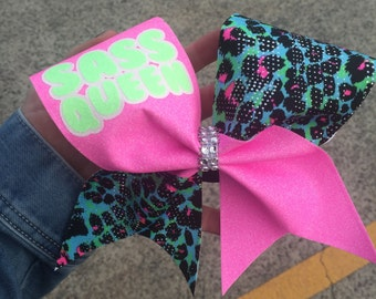 Sass Queen glitter and leopard print cheer bow