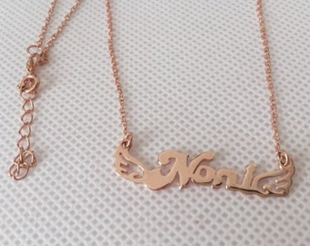 Rose gold plated necklace Personalized name necklace Wing design