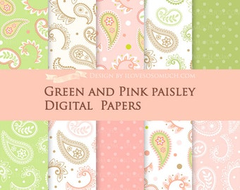Green and Pink Paisley Digital Paper Pack - Instant Download - DP085