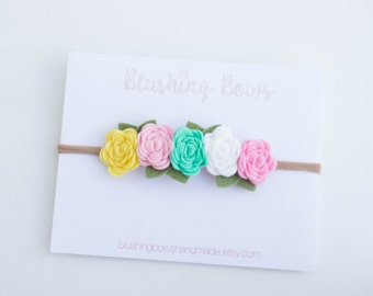 Felt Flower Crown, Felt flower headband-multicolored