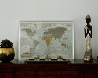 Vintage map of the world, world map, map of the world, vintage style