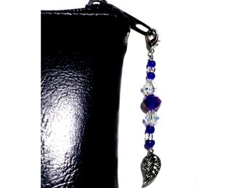 Blue Bead Zipper Pull With Silver Leaf Charm, Crystal Bead Swag, Purse Embellishment, Clutch Adornment, Cut Glass Crystal, Make-up Bag Bling