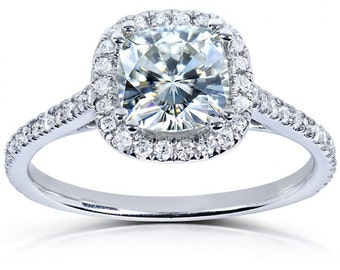 Forever One Cushion Moissanite & Diamond Engagement Ring 1 1/3 CTW in 14k White Gold