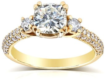 Forever One Cushion Moissanite and Diamond Engagement Ring 1 3/5 CTW in 14k Yellow Gold