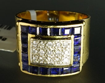 18K Yellow Gold 15 Diamond Natural Blue Sapphire Vintage Ring