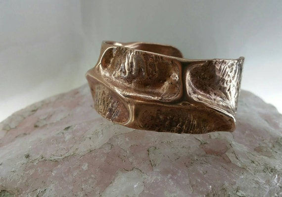 Free formed Air Chased Copper cuff bracelet