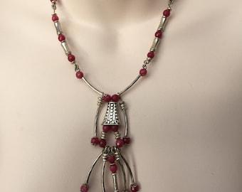 Dark Pink Gemstone Necklace