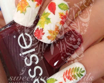 Autumn Fall Leaves Nail Art Fall Water Decals Transfers Wraps