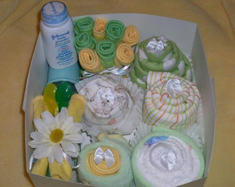 15 pc Baby Shower Gift Set, New Baby Gift, Onesie Cupcakes, Girl, Boy, Gender Neutral.