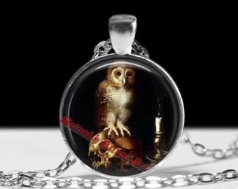 Memento mori necklace, owl and skull pendant, death illustration, gothic jewelry, dark accessories #317