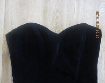 60s black velvet dress XS sweetheart bust - gorgeous!