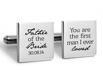 Father of the Bride Cufflinks, wedding cufflinks  Gifts for Dad Cuff links Daddy