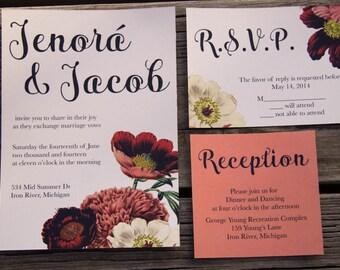 Digital / Printable Garden Peony Wedding Invitations