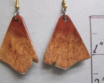 Raw Natural Edge, Corragutta Burl Exotic Wood Earrings, handcrafted by ExoticwoodJewelryAnd hypoallergenic