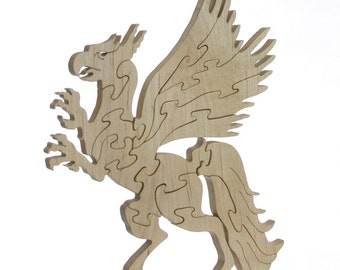 Wood Griffin Puzzle - Hand cut Maple