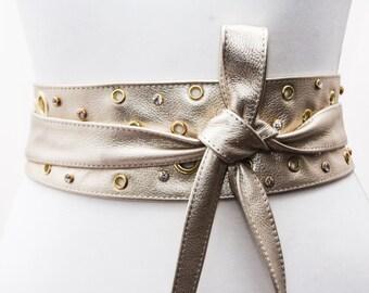 Light Gold Studded Obi Belt,  Bridal Sash, Gold Diamante Studs Belt, Corset Belt, Studded Corset belt, Plus Size Accessory, Gold Sash Belt