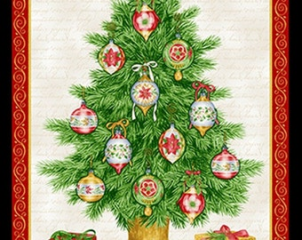 Holiday Henry Glass Christmas Elegance Tree Panel Fabric