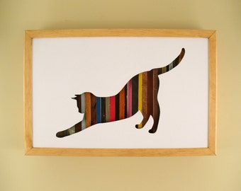 """Cat Stretching - 17"""" by 11"""" Recycled Wood Silhouette Wall Art"""
