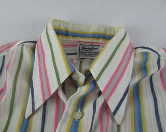 Vintage Hampshire House Van Heusen Pointy Collar Candy Striped Shirt 15.5 33 Disco 1970's Retro Mod