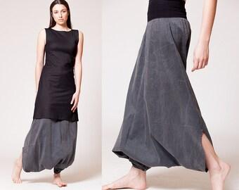 Vintage Black Harem Pants, Baggy Pants, Drop crotch Pants, Drill Pants, Royal Design
