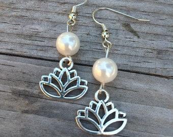 Lotus Pearl Earrings, Lotus Earrings