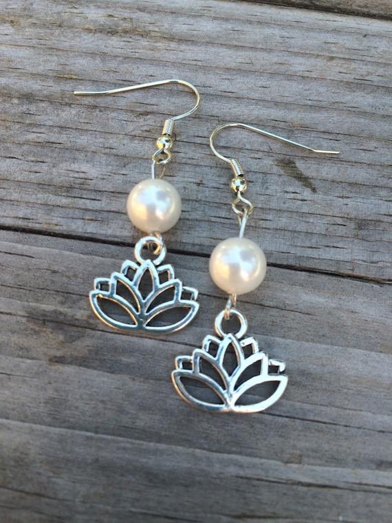 lotus pearl earrings lotus earrings