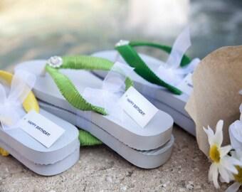 Happy Birthday Flip Flops, Cariris Flip Flops, Yellow Flip Flops, Lime Green Flip Flops, Emerald Green Flip Flops
