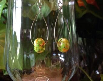 Lampworked Glass & Sterling Silver Earrings