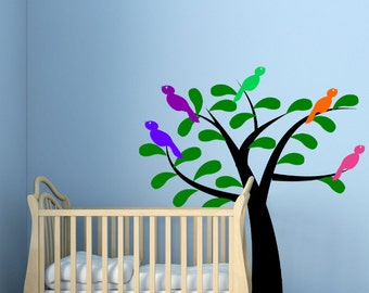 Wall Decals Birds and Tree Bedroom Nursery Wall Large Wall Art