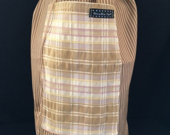Light Brown Stripes with Plaid Tote Bag