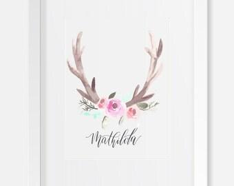 Watercolor Antler Nursery Printable with Custom Calligraphy Baby Girl Name / Caligrafia personalizada / Cuarto de Bebe