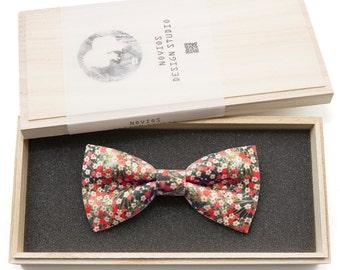 Japanese Floral Bowtie - Modern Boys Bowtie, Toddler Bowtie Toddler Bow tie, Groomsmen bow tie, Pre Tied and AdjustableNovioshk, H0209