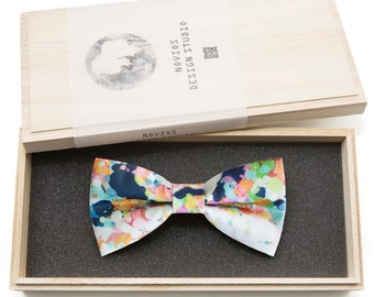 Colorful Painting Bowtie - Modern Boys Bowtie, Toddler Bowtie Toddler Bow tie, Groomsmen bow tie, Pre Tied and AdjustableNovioshk, H0238