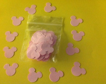 Pink mickey mouse confetti. Pack of 100 pieces. Perfect for Disney weddings or birthdays. Buy 2 packs and get 1 pack free.