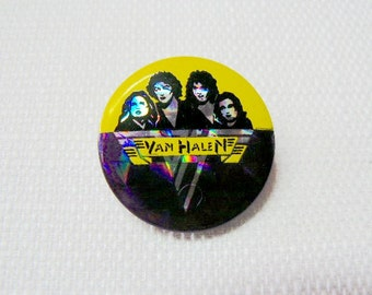 Vintage Early 80s Van Halen Band Hologram Pin / Button / Badge