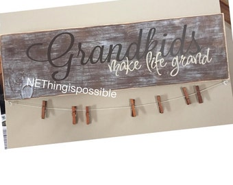 Grandkids make life grand, wooden sign, grandparents gift, grandparents day, grandparents present