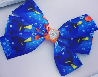Finding Dory Inspired Triple Bow Clip