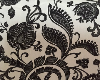 Black and White - Jacobean - Upholstery Fabric by the Yard