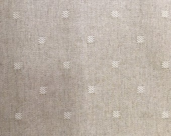 Modern Square Dots - Natural and White - Upholstery Fabric By The Yard - P Kaufmann
