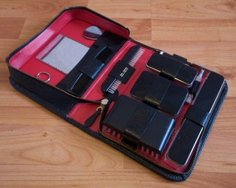 1960s Gillette shaving & grooming set, in black and red leather case