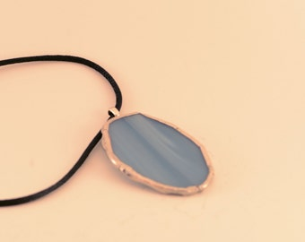 Blue Stained Glass Oval Pendant