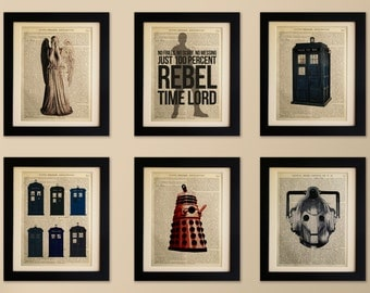 Set of 6 Art Prints on old antique book page - Doctor Who, Tardis, Dalek, Cyberman, Vintage Wall Art Print Encyclopaedia Dictionary Page