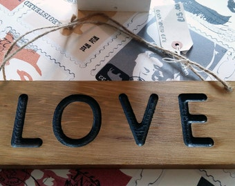 Engraved wooden sign love