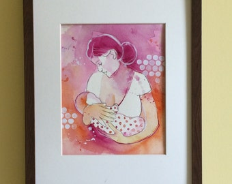 "Nursery art for baby girl, archival print, breastfeeding mom, watercolour painting, 8""x10"""