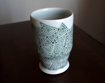 Pottery Tumbler- Triangle Pattern Ceramic Tumbler- Handmade