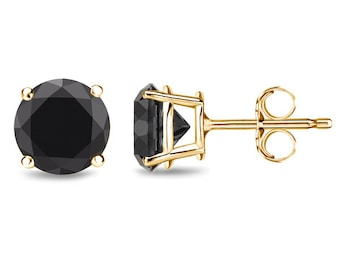 Black Diamond Earrings Studs - Round Brilliant Cut 2.50cttw - Yellow Gold